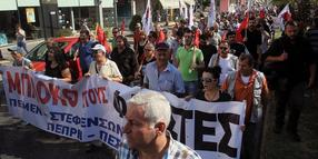 Foto: Demonstranten in Athen am 21 September 2013.