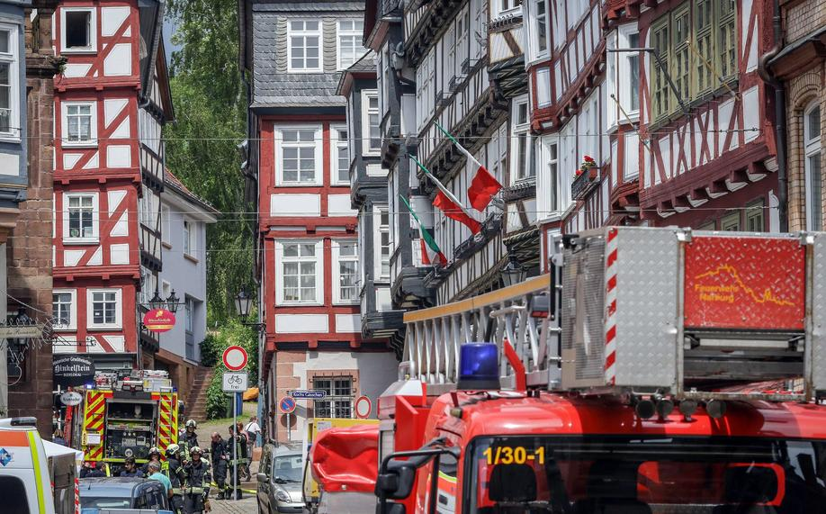 Brand am Obermarkt in der Marburger Oberstadt. Foto: Thorsten Richter (thr)