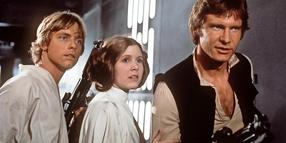 "Luke Skywalker (Mark Hamill, v.l.), Prinzessin Leia Organa (Carrie Fisher) und Han Solo (Harrison Ford) in ""Star Wars: Die Rückkehr der Jedi-Ritter""."