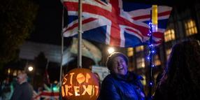Anti-Brexit-Aktivisten demonstrieren vor dem Parlament in London..